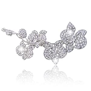 Ever Faith Wedding 5 Inch Flower Orchid Clear Austrian Crystal Brooch Pendant Silver-Tone A03011-15
