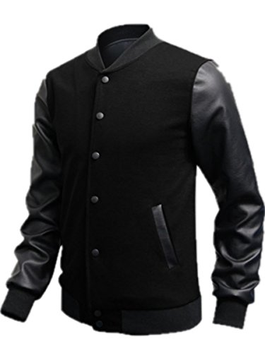 Tm Men Korean Luxury Pu Leather Sleeve Baseball Jacket Coats Outerwear Top Sweatshirt (Xl, Black2)
