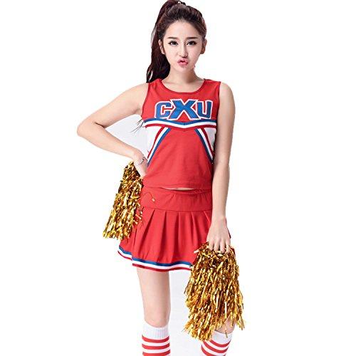 [BeautyXTP Women's Cheerleader Costume Football Sport Fancy Dress Outfit Uniform (XXL, Red)] (Cheerleader Outfit For Sale)