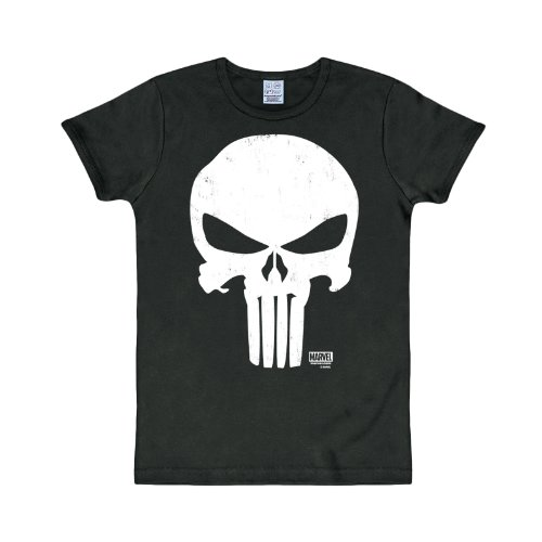 The Punisher - T shirt Marvel - Maglia con stampa frontale - Girocollo - Nero - M