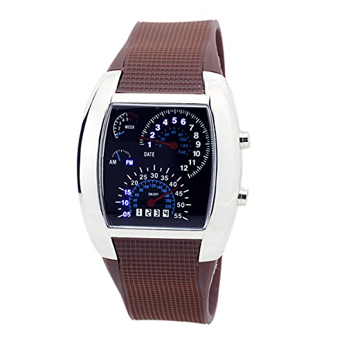 Sotijobs Cool Rpm Turbo Flash Digital Led Sports Watch Gift Car Meter Dial For Men (Brown)