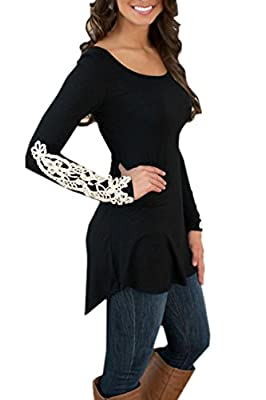 FINEJO Casual Women Long Sleeve Lace Irregular Hem Blouse Tops