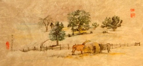 Quiet But For Sound Of Cattle Chewing By Artist Debbi Chan - Canvas Print / Fine Art Canvas Print