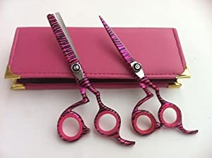 "Professional Hairdressing Scissors Hair Scissors Cutting Shears Thinner Set 5.5"" Pink Zebra"