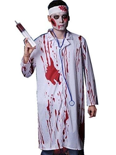 Costumi di Halloween, fase di partito macchiato di sangue di un medico sanguinoso accappatoio, stetoscopio , white , Free