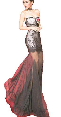 Qiyun Black Bodycon Women Sexy Strapless Sheer Floral Lace Fishtail Long Maxi Dress