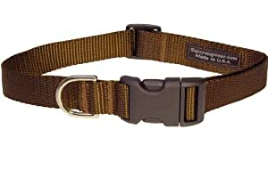 Sassy Dog Wear 18-28-Inch Brown Nylon Webbing Dog Collar, Large