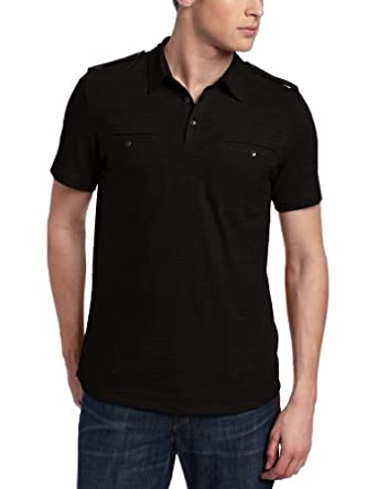 Kenneth Cole New York Men's Dressy Slub Double Pocket Polo, Black, Small