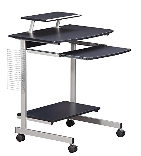 Mobile & Compact Complete Computer Workstation Desk. Color: Graphite