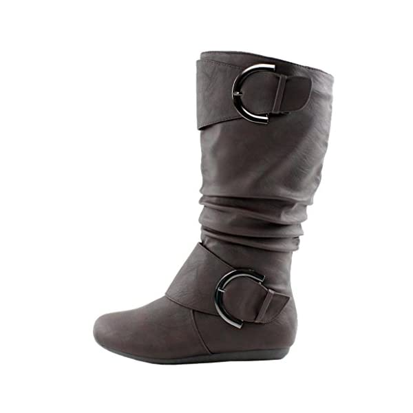 Top Moda Women's BANK-85 Round Toe Ruched Slouchy Boots