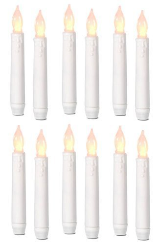 Tna Box Of 12 Battery Operated Led Tapered Candles W/ Flickering Light Bulbs!
