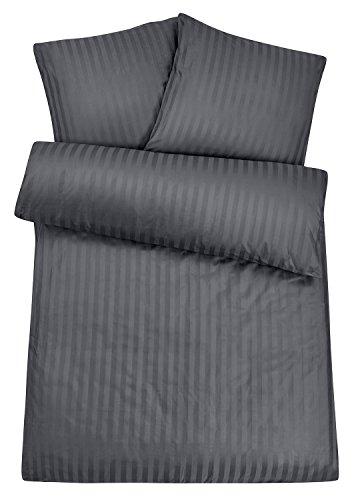 Luxus-Damast-Hotel-Bettwsche-aus-100-feinster-Baumwolle-mit-Reiverschluss-Der-hochwertige-edle-Bett-Bezug-fr-das-ganze-Jahr-mit-exklusivem-Schimmer-fr-besten-Schlafkomfort-135x200-cm-Grau