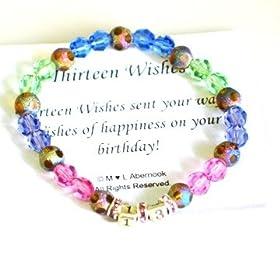 13th Birthday Bracelet - Thirteen Wishes Gift (Stretch Style)