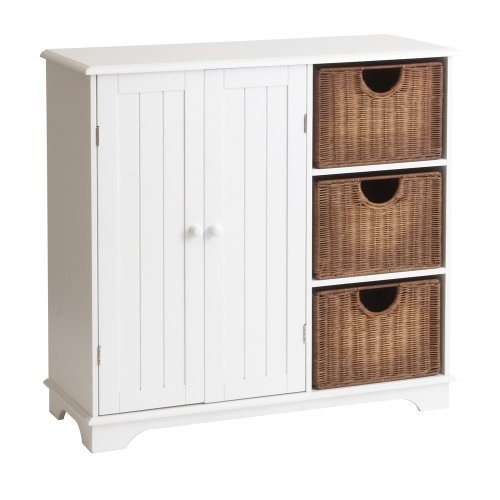 Sideboard with Wicker Drawers White