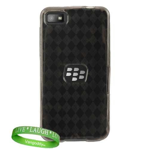 Quality Blackberry Z10 Rubber Tpu Skin Case Hard Cover -( Smoke Argyle Checkered Design ) + Vangoddy Trademarked Live * Laugh * Love Wrist Band