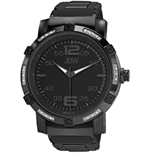 JBW Men's J6258LC Vulcan Oversized Fusion Metal and Rubber Band Diamond Watch