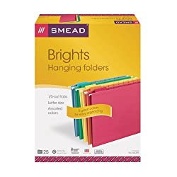 Smead Hanging File Folders, Letter, 1/5 Cut Tab, Assorted Primary Colors, 25 Per Box (64059)