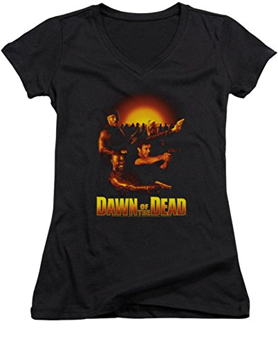 Dawn Of The Dead Collage Ladies Junior Fit V-Neck T-Shirt