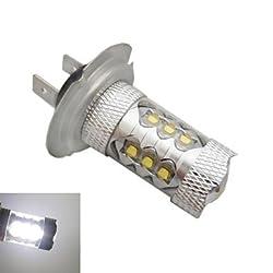 See H7 CREE LEDx16 80W 6500K -7000K White Light LED Bulb for Car (12-24V,1pc) Details