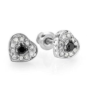 0.25 Carat (ctw) Sterling Silver Round Cut Black & White Diamond Ladies Heart Shaped Stud Earrings 1/4 CT