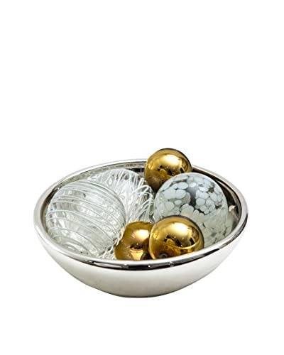 Worldly Goods Glass Bowl with 7 Glass Spheres, White/Amber