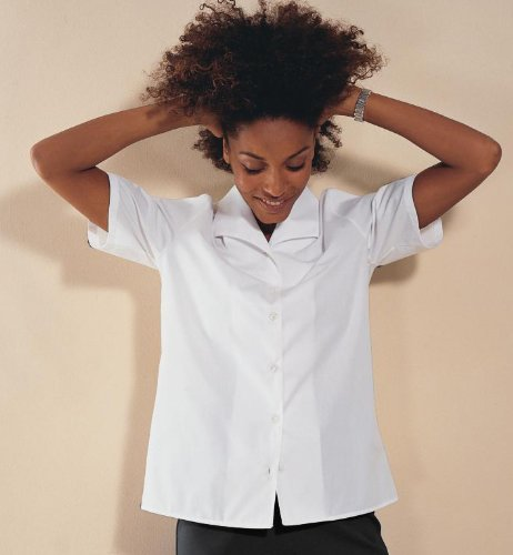 Simon Jersey Short Sleeve White Flat Collar Blouse