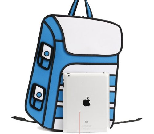 3D Jump Style 2D Drawing From Cartoon Paper Bag Comic Backpack Bags Orange