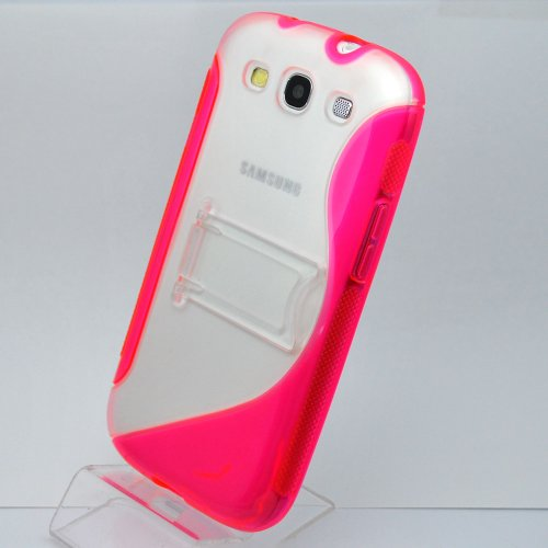 Colorful Plastic Soft Case with Stand for Samsung Galaxy SIII/i9300 + Free Screen Protector