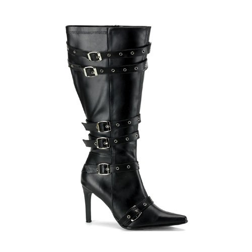 Women Wide Width Boots Wide Calf Sexy Gothic 3 3/4'' High Heel Pointed Toe Black