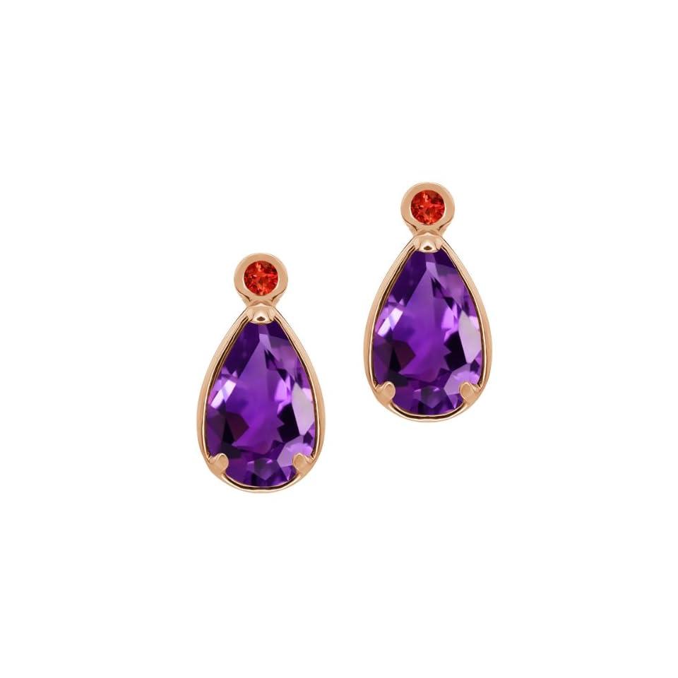 2.02 Ct Pear Shape Purple Amethyst Red Garnet 14K Rose Gold Earrings