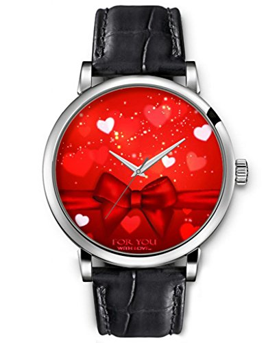 Wrist Watch For Women Analog Silver Face Black Leather Quartz Unisex Silver Watches Ideal Gift Clear Print Fashion Design Red Bow Tie And Twinkle Hearts
