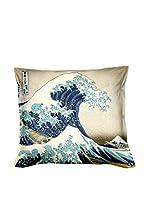 ARTE E TESSUTI by MANIFATTURE COTONIERE Cojín Con Relleno Extraíble Hokusai- La Grande Onda Beige/Multicolor