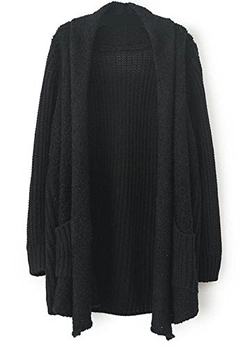 Sheinside Women's Khaki Long Sleeve Pockets Loose Cardigan Sweater Black