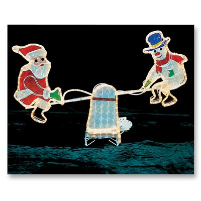 Santa and Snowman on Seesaw Christmas Decoration