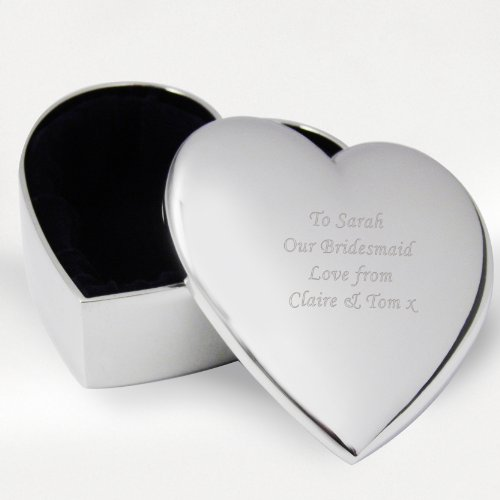 Laser Engraved Personalised Silver Heart Trinket Box - Bridesmaid, Birthday