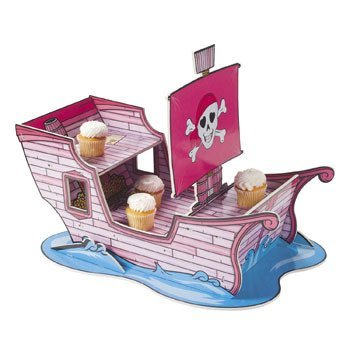 Pink Pirate Cupcake Holder. 13 1/4