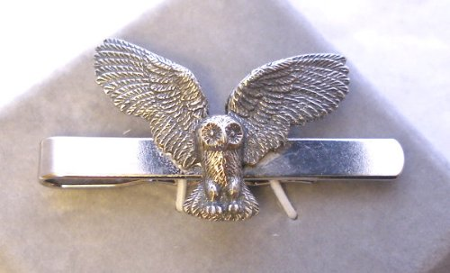 Owl Tie Clip (slide) in Fine English Pewter