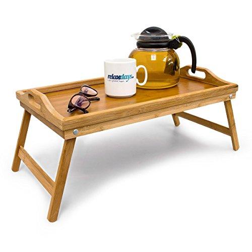 Bambus-Frhstckstablett-Bett-Tablett-Serviertisch-Holz