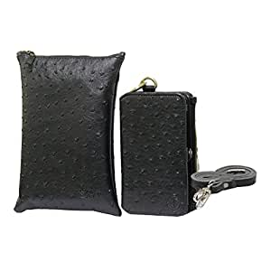 Jo Jo A7 Zara Sr Croc Leather Wallet sling Bag clutch Pouch Mobile Phone Case Cover For Swipe Konnect 5.0 Black