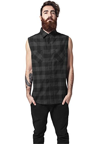 Urban Classics Sleeveless Checked Flanel Shirt Camicia senza maniche nero/carbone L