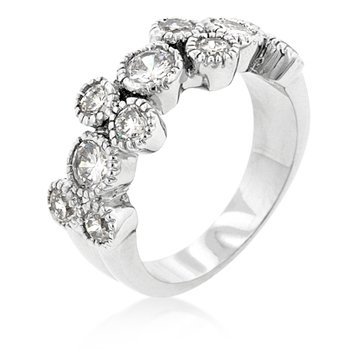 White Gold Rhodium Bonded Anniversary Ring with 11 Round Cut Clear CZ Bezel Set with Milligrain Finish in Silvertone, 7