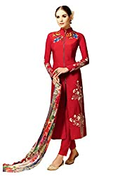 STYLE N DEAL Women's Cotton Satin Unstitchced Dress Material (349D5804_Red_Free Size )