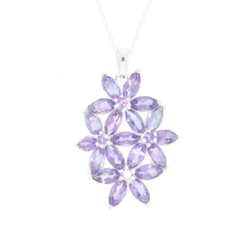 Sterling Silver Amethyst Flower Pendant Necklace, 18