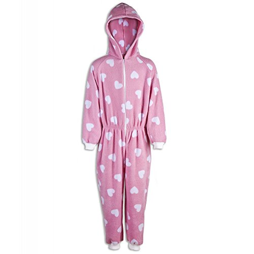 Camille Childrens Girls Pink With White Heart Prints All In One Pyjama Onesie
