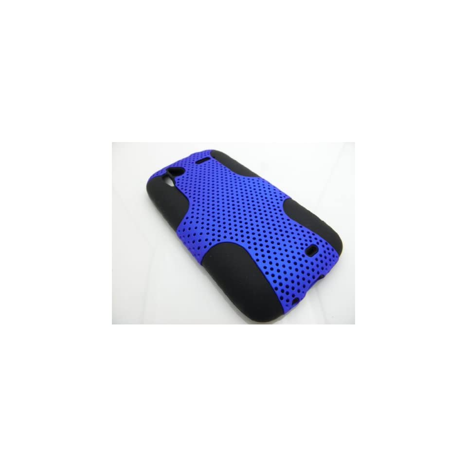 BLUE Hybrid Hard Plastic Back Cover + Silicone Skin Case for HTC Sensation 4G + Screen Protector + Car Charger [In Twisted Tech Retail Packaging]