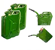 2 X 20L FUEL PETROL METAL JERRY CAN + STEEL FLEXIBLE SPOUT