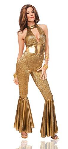 Costume Culture Women's Disco Diva Costume, Gold, Small (70s Disco Gold Adult Costume)