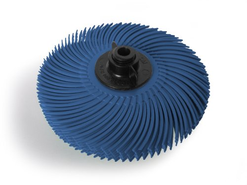"JoolTool 3M Scotch-Brite Blue Radial Bristle Brush Assembled with Plastic Tapered Mandrel Hub, 6 Ply, 3"" Diameter, Grit 400"
