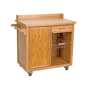 Anglia Bamboo Kitchen Trolley With Cabinet And Two Drawers