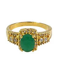 R S Jewels Emerald Simulated Gemstone Gold Plated Ring Fashion Jewellery